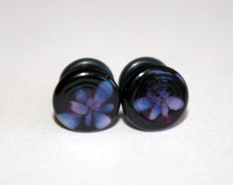 4g Black and Purple pattern glass EAR plugs BODY JEWELRY 5mm handmade new 4 gauge