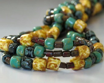 Aged Picasso Tile and Tube Czech Glass Bead Mix : 20 inch Strand Turquoise Beige Picasso