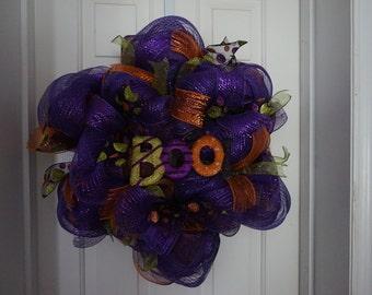 PRICE REDUCED Deco mesh halloween wreath,  halloween wreath, fall wreath, autumn wreath boo wreath