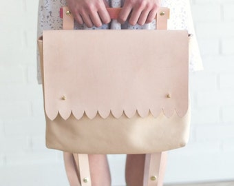 Scalloped Backpack. Spring Fashion Vegetable Leather. Maple Wood Backpack. Modern Thick Vegtan Leather Base. SS16