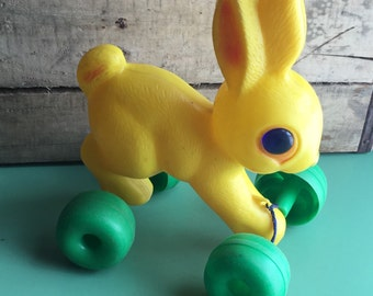 Yellow Blow Mold Bunny Pull Toy by Empire-Easter Decor -Yellow Plastic
