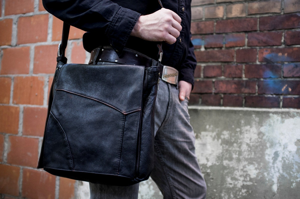 Hand-crafted UPCYCLED Black Biker Leather Messenger Bag