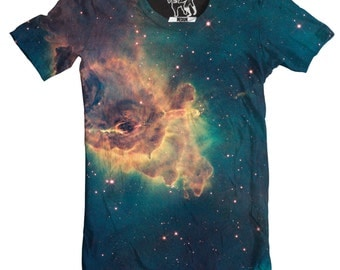Jet in Carina Nebula Men's Tee, Cool Outer Space T-Shirt, Cosmos Graphic Tee, Stars, Planet, Galactic Science Crewnack, S-2XL