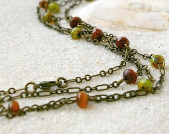Long Bead and Chain Necklace - Autumn Colors - Gift for Her - Layering Necklace - Long Necklace - Boho Jewelry - Orange and Green Series