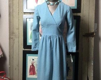 1960s wool dress 60s blue dress size small Vintage winter dress mad men