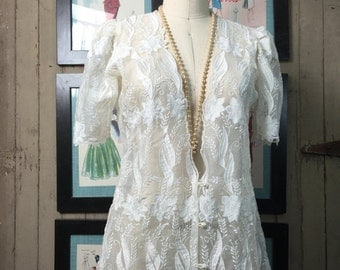 1980s lace blouse 80s sheer blouse puff shoulders size medium Vintage ivory shirt embroidered jacket