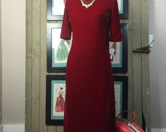 1960s velvet dress 60s holiday gown size medium Vintage red gown with Watteau train