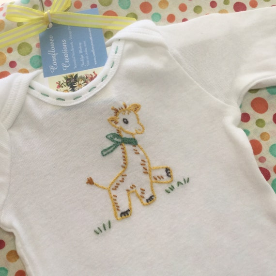 Gerry Giraffe - Hand Embroidered Onesie For Boy or Girl