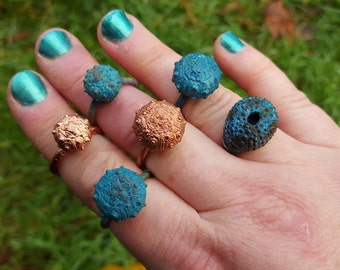 Sea Urchin Ring Copper Electroplated Real Urchin CUSTOM ORDER Any Size Any Patina