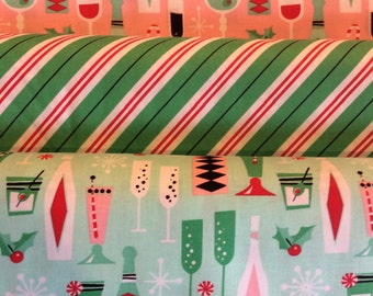 Holiday Party + Stripes - From Michael Miller - Fat Quarter Set - 3 Prints - 7.50 Dollars