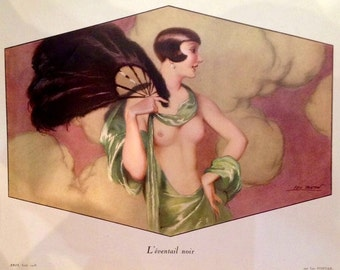 The BLACK FAN by FONTAN Uncirculated 1928 Litho French Art Deco Flapper Fan Dancer Pinup Open Gown Nude Costume Party 20s Vintage Pin-Up