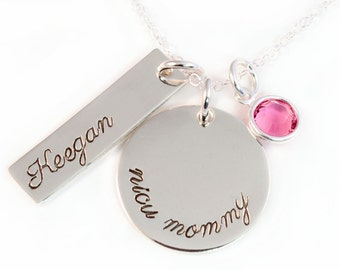 NICU Mommy Charm Necklace, NICU Grad, Personalized Mommy Necklace, Handstamped Sterling Silver