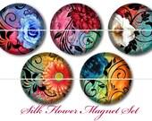 Silk Flower Magnets, Silk Flower Pins, Filigree Flower Magnets, Floral Magnets, Floral Cabochons, Silk Floral Flatback, Fancy Florals