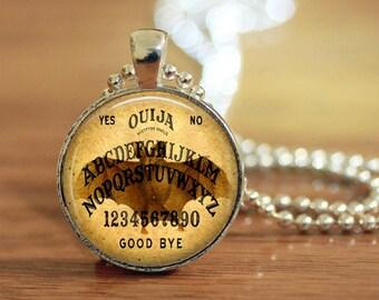 Ouija Pendant, Bat Ouija Necklace, 25mm Cabochon, Gothic Ouija, Dark Magic, Ouija Board Jewelry, Metaphysical, Photo Necklace, Ouija Keyring