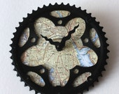Providence RI Bicycle Clock | Map Clock | Providence City Map Clock | Bike Gear Clock