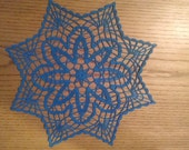 "New Handmade Crocheted ""Petite Fans"" Doily in Blue Hawaii - 12"""