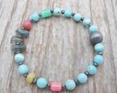RESERVED for Lisanne, larimar bracelet, labradorite bracelet,  mixed gemstone bracelet, chrysoprase bracelet, gift for her