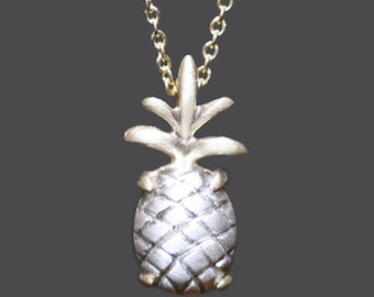 Pineapple Pendant Necklace in Sterling Silver and 14K Gold