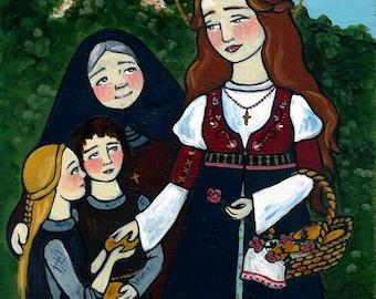 PRINT 8x10 Saint Elizabeth of Hungary Catholic folk art