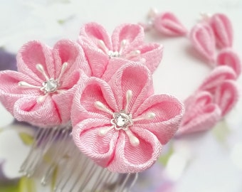 Kanzashi Triple Flower Hair Comb Japanese Chirimen Fabric Soft Pastel Pink