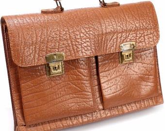 Men Gift DISTRESSED Vintage BRIEFCASE 60s Leather Bag Large Professor Portfolio Laptop Cognac Brown School Bag Thick Sturdy Retro Hipster