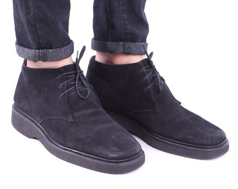 Suede CHUKKA Boots for Men 90s Black Real Leather Desert Ankle Booties Winter Lace Up size size Men Us 8 , Women Us 10.5 , Eur 41 , UK 7.5