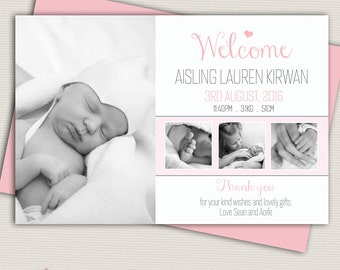Photo Birth Announcement/Girl Baby Announcement/Personalised Photo Birth Announcement/Pink Baby Thank you card/Print yourself/4 photos/Pink
