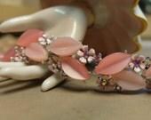 Vintage Bracelet Thermoset Links Pink Lisner