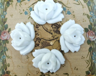 Vintage Milk Glass Rose Finding Jewelry Supply Occupied Japan