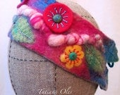 Felt Hand Band Nuno felt Flowers and Leaves Embroidery OOAK Beautiful Garden