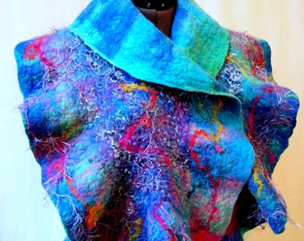 Nuno felt Scarf Ocean  with Mermaid Brooch , Wearable Art , Merino wool , Fiber Art, Art to wear,outstanding accessories