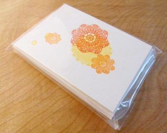 Doily-Flower - 10 pack of Letterpress flat cards with envelope