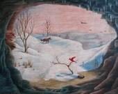strange and surreal mid century winter landscape fox jet bird cave 1960s original painting on board