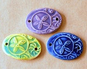 3 Ceramic Beads - Starflower Beads in Spring Glazes - Handmade Bracelet beads with Flower Abstract - Beads for Cuff or Wrap Bracelets