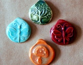 4 Handmade Ceramic Beads - Pinch top Spring Beads - Primitive Hippie Beads - a Rainbow of Spirituality - Butterfly, Mushroom, Tree of Life