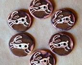 6 Handmade Stoneware Buttons -  Leaping Hare Ceramic Buttons in Rustic Brown glaze