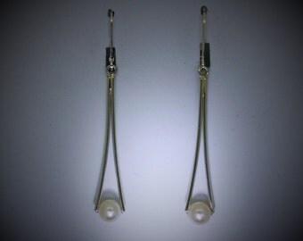 Pearl Earrings, Sterling silver earrings with pearls, recycled sterling silver earrings