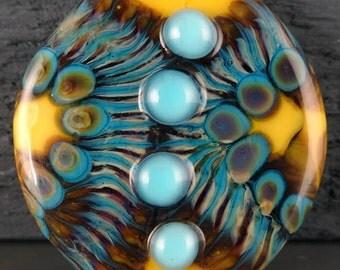 Bright Yellow, Blue, Raku Handmade Glass Lampwork Bead by Laurie Geller..SRA