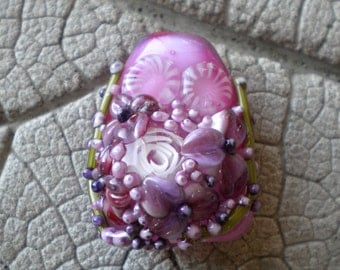 Rose Murrini Focal Lampwork Beads by Cherie Sra R114 Encased Floral Flameworked Bead Floral Lampwork Rose Murrini Applied Flower White Rose