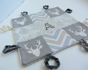 Baby Boy Lovey Personalized with Hand Embroidery ~ Choice of Backing Fabric ~ Hello Bear Buck Forest Mist ~ Grey Cream ~ Stag Deer Chevron