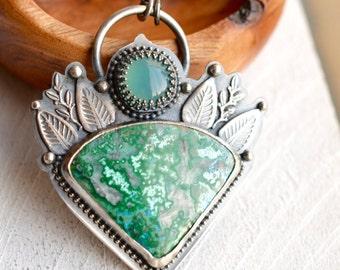 Azurite Necklace, Botanical Metalwork Necklace, Blue Chalcedony Pendant, Oxidized Silver, Stone Pendant, Statement Necklace, Boho Style