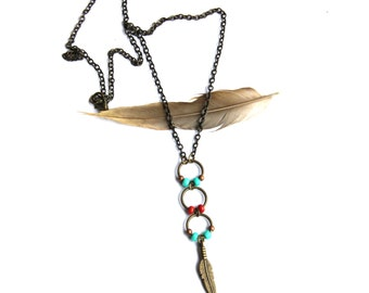 Brass Beaded Feather Necklace
