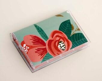 NEW Handmade Vinyl Card Holder - Botanical Blue  / card case, vinyl wallet, women's wallet, small wallet, pretty, floral, flowery, gift