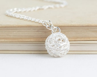 Ball of Yarn Necklace, Gift for Knitter, Knitting Gift, Sterling Silver, Gift For Mom, Knitting, Silver Yarn Charm Necklace