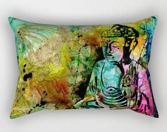 Buddha Pillow, Zen Circle, Abstract Art Pillow, Home Decor Rectangular Pillow, Decorative, Contemporary, Original Kathy Morton Stanion  EBSQ