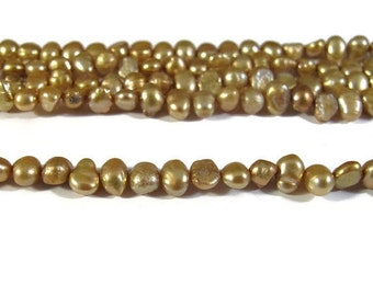 HOT SALE - Freshwater Pearls, Delicate Golden Yellow Nugget Pearl Beads, 3.5-4mm, 15 Inch Strand, Long Drilled, Over 46 Loose Pearls (P-N2)