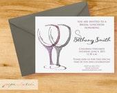 Bridal Party Invitation - Let's Wine - Digital File or Printed