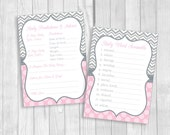 Pink and Gray Girl's Baby Shower Party Printable Games - Word Scramble, Predictions about Baby and Advice for Mom & Dad - Instant Download