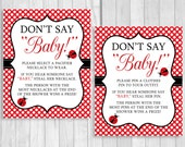 Printable Don't Say Baby! 8x10 or 5x7 Clothes Pin Game or Pacifier Necklace Girl's Ladybug Baby Shower Game - Red and White Polka Dots