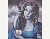20% OFF Snow White Art Print Poison Apple Fantasy Art Gothic Art Fairy Tale Art Snow White Portrait Skull Apple 8x10
